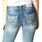 Grace in LA Women's Aztec Embellished Embroidered Bootcut Stretch Jeans