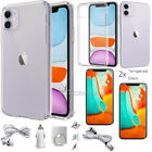 "For Apple iPhone 11 6.1"" Clear Case Cover With Tempered Glass Screen Protector"