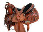 USED WESTERN SADDLE BARREL RACING TRAIL TOOLED LEATHER RODEO COWBOY TACK 15 16
