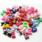 10-100Pcs 3D Small Puppy Pet Dog Rhinestone Hair Bow Bands Grooming Rubber M8W3