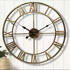 Round Metal Skeleton Roman Numeral Art Indoor Outdoor Garden Large Wall Clock