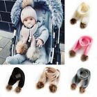 Newborn Baby Boy Girls Fur Pom Winter Warm Knit Scarf Neckerchief Scarves