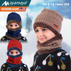 Kids Winter Hat And Scarf Set Knitted Beanie Boys Girls Fleece Cap Neck Warmer