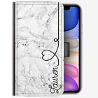 Initial Phone Case, Personalised Name with Heart Grey Marble Leather Flip Cover