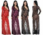 Women's Lily Sexy Lace V Neck Nightgown Long Dress Lingerie 2 Piece Set