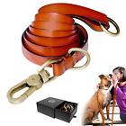 5ft/6ft Genuine Leather Dog Leash Leads Collar P-Leash Brass Buckle Heavy Duty