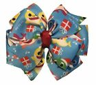 Christmas Baby Shark Pinwheel Hair Bow