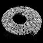 18k White Gold 2 ROW Simulated Lab Diamond SILVER Flood Out Iced Chain Necklace