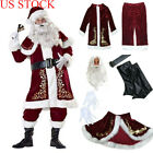 Santa Claus Suit Adult Deluxe Velvet Christmas Costume Fancy Dress Full Set US