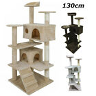 Large 130cm Cat Tree Climbing Tower Scratching Post Activity Centre Dark Grey pS