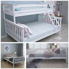 Wood Bed Frame 3FT Single/4FT6 Double/Triple Sleeper Bunk All White Adult Child