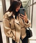ZARA CONTRAST FAUX LEATHER SUEDE AVIATOR COAT DOUBLE-FACED COMBINED JACKET FUR