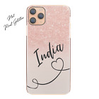 Personalised Phone Case For iPhone 13/12/11, Initial Grey/Pink Marble Hard Cover