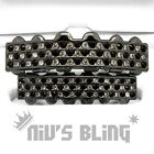 Bling Out Iced Gunmetal GRILLZ Checkered CZ Tooth Mouth Teeth Cap Hip Hop Grills