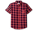 KLEW MLB Men's Boston Red Sox Wordmark Flannel Short Sleeve Button-Up Shirt on Ebay
