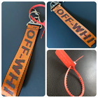 Off White Belt Keychain Copper / Orange color w/ Tag option