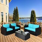 4pcs Rattan Home Garden Outdoor Wicker Furniture Set With Cushions Blue/purple