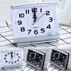 Square Round No-Tick Quartz Alarm Clock Small Desk Silent Snooze Battery Clock