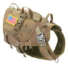 Tactical Military Dog Harness+3 Detachable Pouch Patch K9 Molle Vest Large Breed