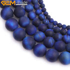 Round Lapis Blue Color Tiger Eye Frosted Matte Stone Beads Jewelry Making 15""