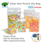 50Pcs Transparent Flat Bottom Stand Up Zip Bags Box Pouch Side Gusset Coffee Bag