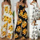 Women Sunflower Playsuit Bodycon Strap Sling Wide Leg Jumpsuit Romper Trousers