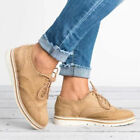 Brogue Women Sneaker Flat Casual Lace Up Pumps Athletic Running Shoes US4.5-10.5