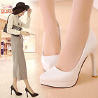 Office Ladys Shiny Pumps Slip On Pointed Toe High Slim Heel Loafers Dress Shoes