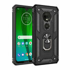 For Motorola Moto G7 Plus Play Power Armor Stand Case+Full Cover Tempered Glass