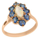 Solid 9ct Rose Gold Natural Opal & Sapphire Womens Cluster Ring - Sizes J to Z
