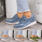 Women Sequin Ankle Shoes Wedge Heel Trainers Bling Sneakers Lace up Ladies...