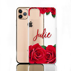 Initial Phone Case, Personalised Flowers on Clear Hard Cover For Apple iPhone