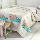Spring Truck Quilt - Floral Bedspread with Vintage Farmhouse Print image