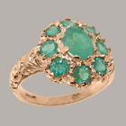Solid 14ct Rose Gold Natural Emerald Womens Cluster Ring - Sizes J to Z