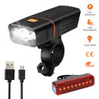 1500LM LED Bicycle Bike Lights USB Rechargeable Headlight Front Rear Tail Lamp