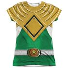Official Power Rangers TV Show Green Emblem Logo Costume Ladies Front T-shirt