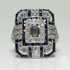 Ladies Girls Silver White Topaz & Blue Sapphire Ring Wedding Bridal Party Women