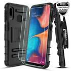 For Samsung Galaxy A10e Case Belt Clip Stand With Screen Glass Protector Cover