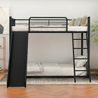 Twin Over Twin Metal bunk bed with slide,Guest bed Sofa bed Twin Bed Home Office