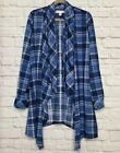 XL/1X/2X/3X New Denim Blue Plaid Long Knit Jacket Cardigan Duster Top 58