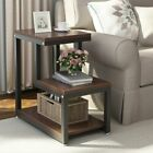 3Tier Industrial Rustic Wood Accent Sofa Side End Table Stand Snack Storage