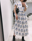 ZARA BLUE POPLIN PUFFED SLEEVE BOHO TUNIC MIDI LONG EMBROIDERED VOLUMINOUS DRESS