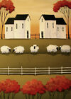 Print of folk art painting SHEEP TALK primitve farm country landscape Autumn DC
