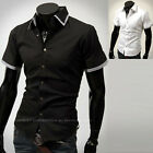 Mens Layered Collar Business Casual Dress Shirts Short Sleeve Tops W164 XS/S/M
