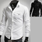 Mens New Luxury Slim Business Casual Dress Shirts Long Sleeve Formal Top W180