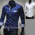 Mens New Fashion Luxury Long Sleeve Business Casual Dress Shirts Formal Top W757