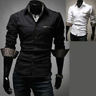 Mens New Luxury Slim Business Casual Dress Shirts Long Sleeve Formal Top W260
