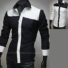 Mens Stylish Long Sleeve Business Casual Dress Shirts Formal Tops W818 XS/S/M
