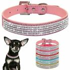 Persoanlised Leather Rhinestone Diamante Dog Collar Soft Bling Puppy Pet UK
