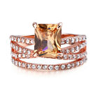 Women Ladies Band Ring Crystal Stainless Steel Engagement Wedding Rings Jewelry